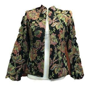 Coldwater Creek Jacket Black Green Floral Lined 8